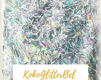 Platinum Silver Holographic Glitter Tinsel Bars Rainbow Sparkle & Shine *Bling* 5 or 10 grams