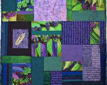 Fiber Art Quilt Greens and Purple Wall Hanging Quilt