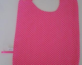 """Large bib size bright pink """"confetti"""" polka dots"""