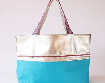 Gold leather tote/ shoulder bag/ beach bag / Peruvian bag
