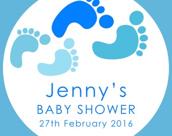 35 Personalised Baby Shower footprint 37mm Round Stickers labels Party