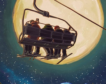 Whitefish, Montana - Ski Lift and Full Moon (Art Prints available in multiple sizes)