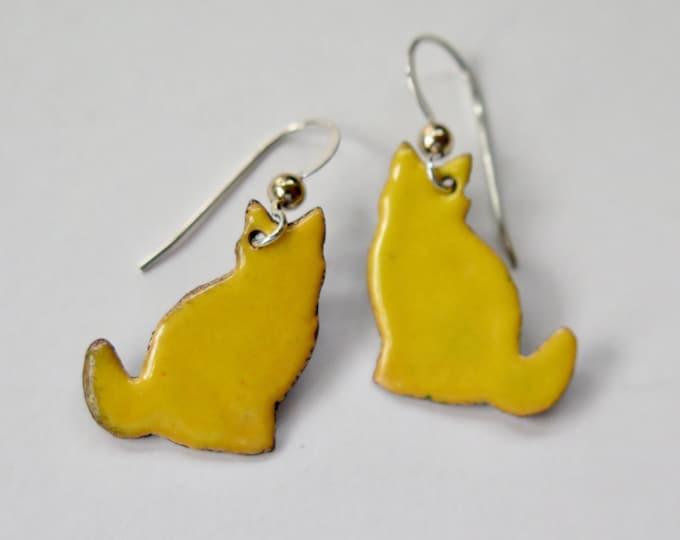 Cat Earrings - Enamel Jewelry - Enamel Earrings - Cat Jewelry - Cat Lover Gift - Sterling Silver - Copper Jewelry - Handmade - Free Shipping