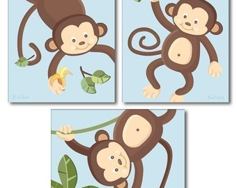 Monkeys Wall Art Monkeys Print Set of 3 Blue Jungle Monkey Monkeys Nursery Wall Art Prints