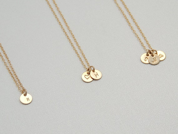 Tiny initial circle necklace personalized gold disk necklace like this item aloadofball Gallery