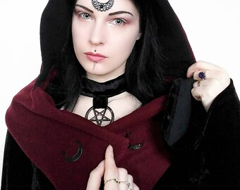 Gothic hat/witchy hood/scarf/strega fashion/winter hood/winter hat/witchy/moon goddes/hooded scarf/cowl/shawl/hooded shawl/elven/pixie