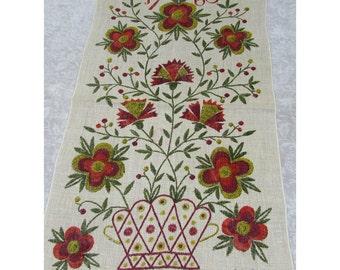 "Gieroch linen kitchen towel - 28x16 folk art ""1760"" basket floral design - 1960s"