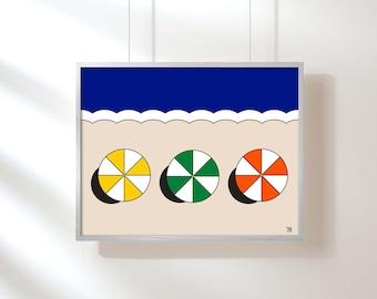 Beach Umbrella Print Pop Art Retro Beach Print Nautical Art Beach Art Coastal Art Giclee Print Small Format
