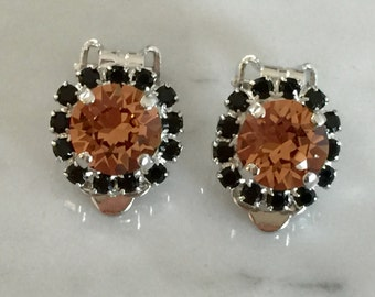 Light Smoked Topaz & Jet Crystal Halo Clip On Earrings, Silver