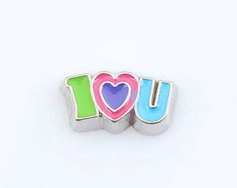 I Heart U Love You Floating Charm for Glass Locket Necklace Jewelry Mother's Day  Living Memory Magnetic Bracelet Charms Gift Romantic BFF