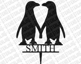 Wedding Cake Topper Personalized Penguins in Love Bride and Groom Silhouette Laser Cut LGBT Gay Lesbian Friendly