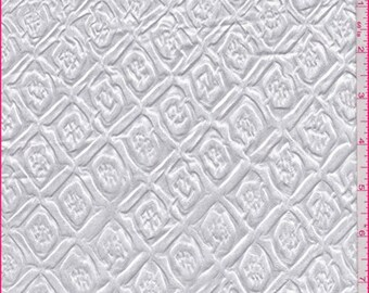 White Embossed Floral Diamond Satin Charmeuse, Fabric By The Yard