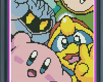 Nintendo Kirby Cute Counted Cross Stitch PDF Pattern - INSTANT DOWNLOAD