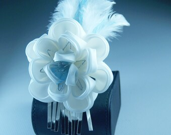 White Silk Flower, Feathers Kanzashi Flower Hairpin, OOAK Burlesque, 1920s Flapper, Weddings, Prom, Homecoming Women - CLEARANCE