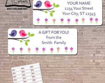 Love Birds Return Address Label / Instant Download & Editable / Gift Tag / Stickers / EDITABLE / PRINTABLE