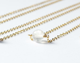 Simple Moonstone necklace / dainty necklace / June birthstone jewelry / Growth and Strength