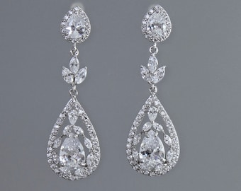 Chandelier Bridal Earrings, Crystal Earrings, Silver Teardrop Earrings,   COCO Leaf