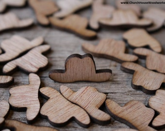 100 Wood Cowboy Hats 3/4 inch tall, Little Wooden Confetti Engraved Hats - Rustic Wedding Decor- Table Decorations- Small