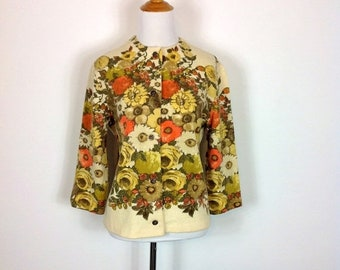 40% SPRING SALE 60s Vintage Floral Wool Cardigan- Kio Imported by Hooper and Associates