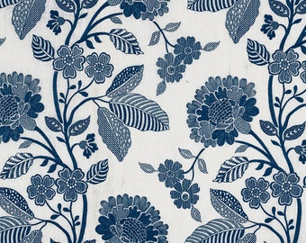 Schumacher Elspeth Blue and White or Dove grey Embroidered Fabric by the Yard
