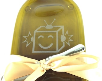 Robot Dude Melted Bottle Cheese Tray - Dark Glass Wine Bottle