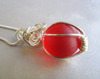 Handmade Gift -Rare Red Sea Glass Marble Pendant- Sea Glass Pendant - Beach Glass Jewelry - Pure Sea Glass- Prince Edward Is. Ocean Gifts
