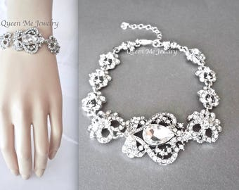 Crystal wedding bracelet Art deco Vintage Victorian style bracelet for a bride Wedding bridal jewelry Rhinestone teardrop Prom SARAH