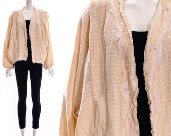 80's Pink Cocoon AVANT GARDE Bubble Cardigan Jacket Duster Crystal Rhinestone Jacket Oversized O S F M