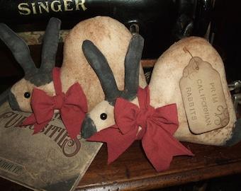 Primitive Grungy Rabbits Californian Bunnies PAIR Brick-Red Ties, OFG HAFAIR Teams