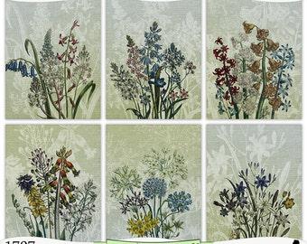 Burlap Vintage Flowers Collection V Digital Prints Instant Download Set of 6 - 8.5 x 11 inch Printable Papers JPEG & PDF Commercial Use 1707