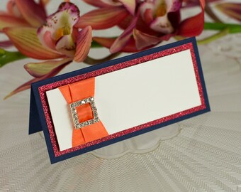 Blank, Triple-Layered, Crystal Rhinestone Buckle Seating Card