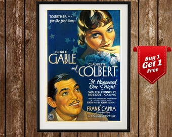 It Happened One Night Movie Poster - Clark Gable, Frank Capra, Claudette Colbert, Classic Film, Old Hollywood, Clasic Cinema, 1930s Art