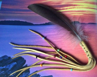Feather Smudge Fan with Leather Fringe and Beads, Ceremonial Feather, Prayer Feathers,  Smudge Feather, Made in Canada