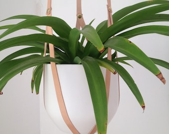 Hanging Plant Harness Plant Holder suspend your plant with recycled leather