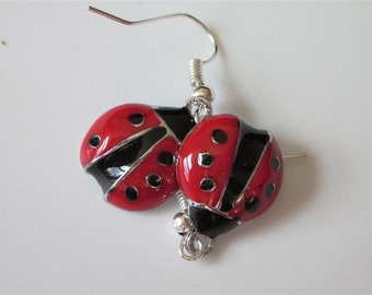 Ladybug Earrings, Ladybug Jewelry, Enameled Red and Black Insect, Rhodium, Bug, Summer Jewelry