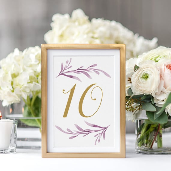 Lilac Table Numbers, Lilac Printable Wedding Table Numbers 5x7 inches, 2 per page, 'Lilac Wedding', Edit in WORD or PAGES