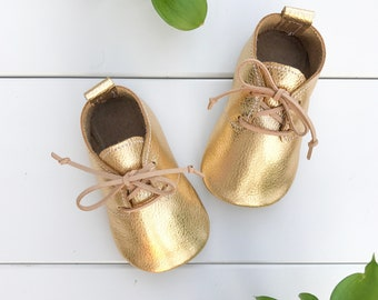 Metallic Gold Oxfords | Baby Moccasins, Toddler Moccasins, Gold Moccasins, First Birthday, Party Shoes, Baby Moccs, Boho, Spring, Neutral