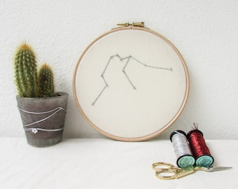 Aquarius star sign gift, Hand embroidery hoop art, February birthday gift, sparkly wall hanging, modern embroidery, handmade in the UK