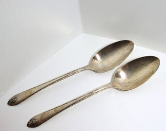 Set of Two (2) WM Rogers & Son Serving Spoons - Silverplate - 1940 Art Deco Exquisite