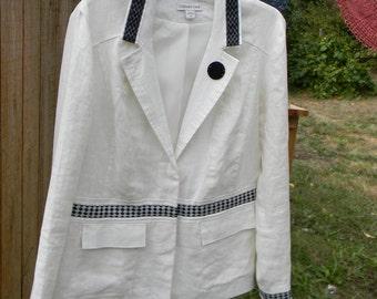 Embellished Creamy White Linen Blazer