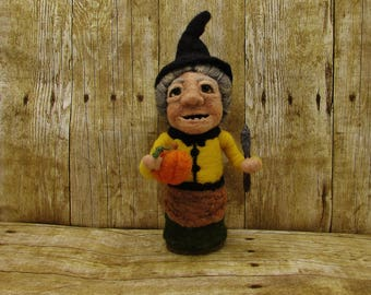 Pumpkin carving witch doll Cora, a needle felted soft sculpture made from wool, felted witch doll, Halloween witch,  fantasy witch felt doll