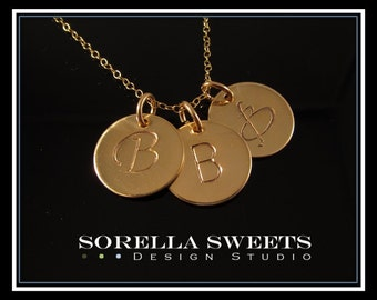 1 2 3 4 5 Initial Disks, initial Necklace, Personalized Necklace, Monogrammed Gold Disk