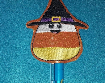 Candy Corn Witch Pencil Topper