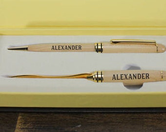 Pen and Letter Opener Set/Wood/Engraved/Valentine Gift/Gift for Him/Anniversary/5th/Wood Anniversary/Personalized/Name