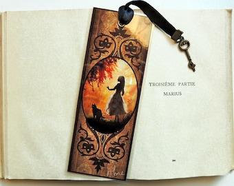 Bookmark Alice and cat - illustrated, laminated, hand-made