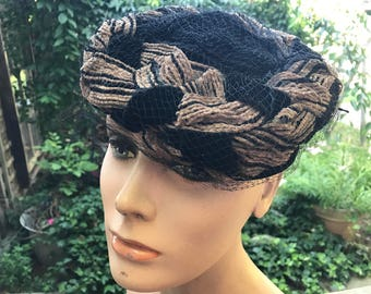 Vintage Brown and Black Velvet and Netting Ladies' Hat