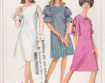 Vintage 1966 Simplicity Sewing Pattern 6496 / Misses A Line Dress with Three Sleeves / Size 12 Bust 32