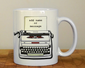 Personalised typewriter mug, writers, authors mug