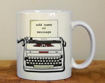 Personalised typewriter mug, writers, authors mug teacher gift