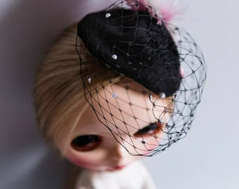 Blythe Doll Outfit - Birdcage Veil with Feather